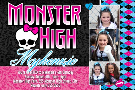 Custom Monster High Birthday Party Invitations