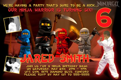 Ninjago Birthday Party Invitations – Ninjago Party Invitations