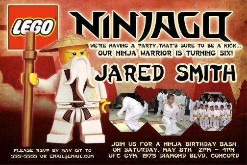 Ninjago Ninja Birthday Party Invitations