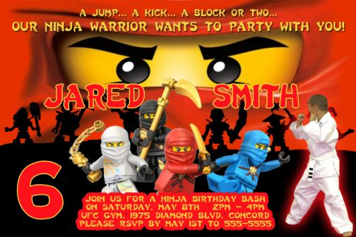 Lego Ninjago themed Birthday Party Invitations and party supplies – Ninjago Party Invitations