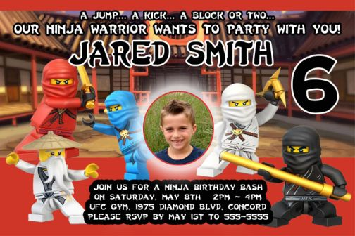 Lego Ninjago Ninja Birthday Party Invitations with photo – Ninjago Party Invitations