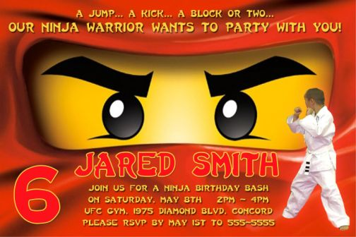 Red Face Lego Ninjago Birthday Party Invitations – Ninjago Party Invitations