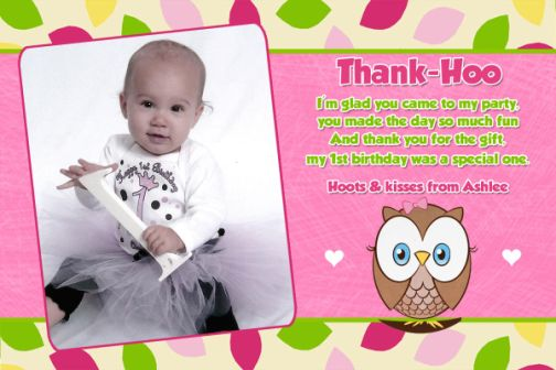 Owl First Birthday Thank You Card or Invitation – 1st Birthday Thank You Cards