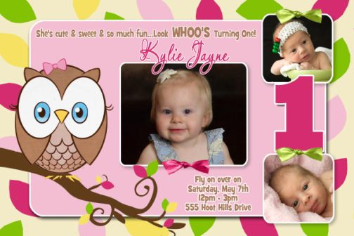 Pink Green Owl 1st Birthday Invitation