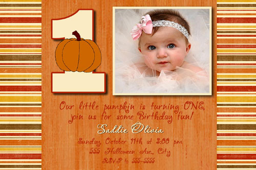 pumpkin halloween first birthday photo invitation