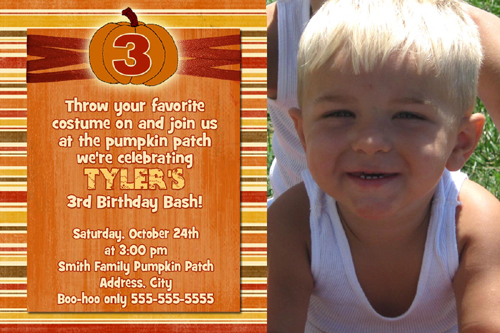 pumpkin 3rd birthday invitation, Birthday invitations
