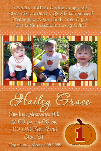 Fall autumn pumpkin first birthday invitation filmwisefo