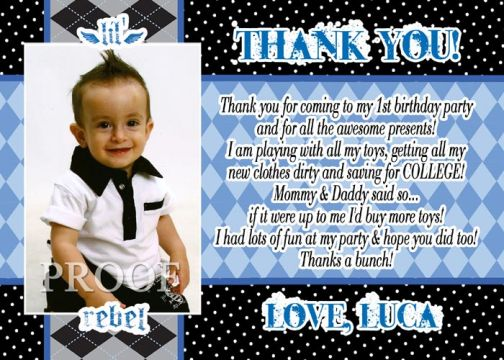 Little Rebel Thank You Card or Birthday Invitations – First Birthday Thank You Cards