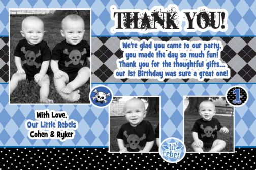 Lil' Rebel Photo Thank You Card 1st Birthday Invitations-Lil' Rebel, little rebel, rebel, grunge, tattoo, first birthday, boy, party supplies, thank you card, rock& roll
