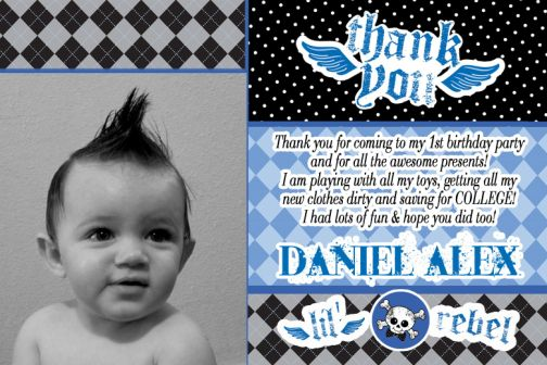 Lil rebels 1st birthday thank you card bookmarktalkfo Image collections