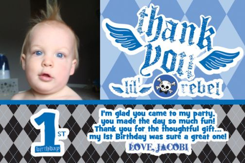 Lil Rebel Birthday Thank You Card with Photo 1st First – First Birthday Thank You Cards