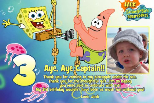 Spongebob Patrick Photo Birthday Invitation – Spongebob Party Invitations