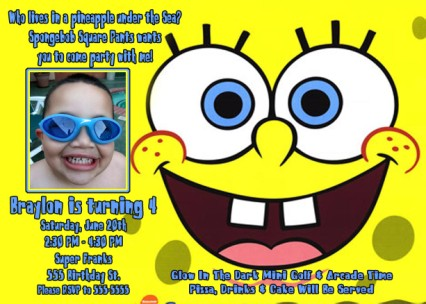 Spongebob Face Birthday Invitation