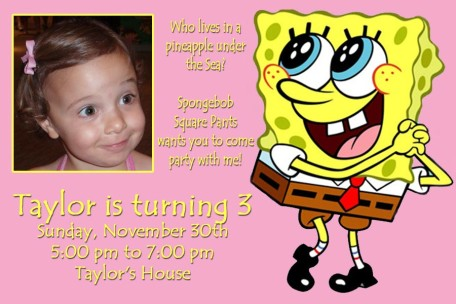 Spongebob Pink Girl Birthday Invitation