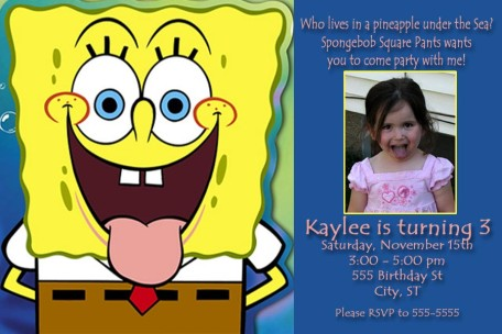 Spongebob birthday invitations boy or girl spongebob rainbow birthday invitation filmwisefo