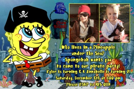 Spongebob Birthday Invitations Boy or Girl