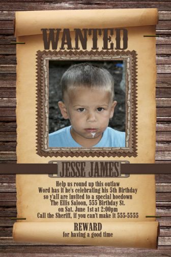Wanted Poster Childs Cowboy Birthday Invitation