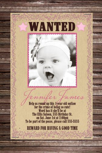 Wanted Poster Cowgirl Birthday Invitation Childs Party