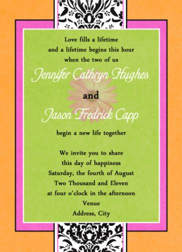 orange hot pink lime green gerber daisy wedding invitations - Daisy Wedding Invitations