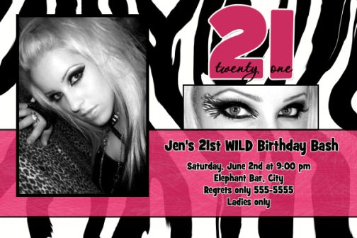 zebra pink 21st birthday invitation, Birthday invitations