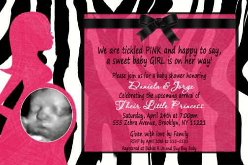 Hot Pink Zebra Pregnant Mommy Baby Shower Invitation