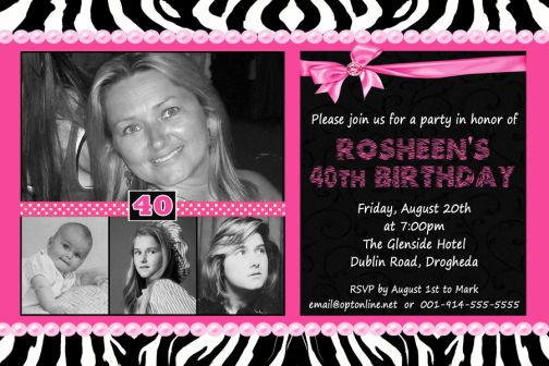 zebra hot pink photo 40th birthday invitation, Birthday invitations