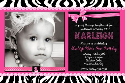 zebra hot pink satin bow first birthday invitation, Birthday invitations