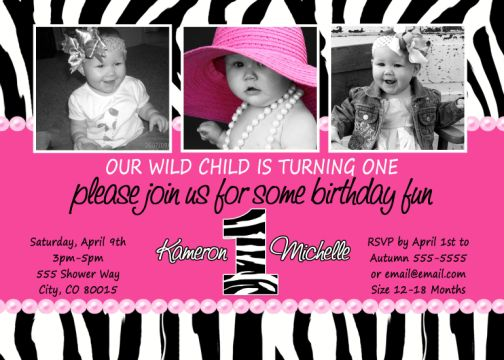hot pink, zebra print, 1st birthday photo invitation, Birthday invitations