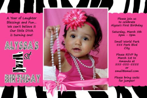 sassy hot pink & zebra 1st birthday invitations, Birthday invitations