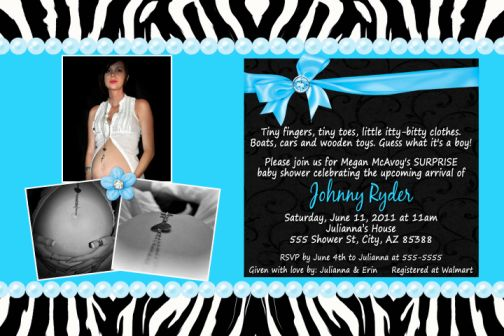 turquoise blue & zebra print baby shower invitation, birthday, unisex, Birthday invitations