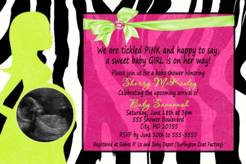 Zebra hot pink lime green baby shower invitation with pregnant mommy filmwisefo