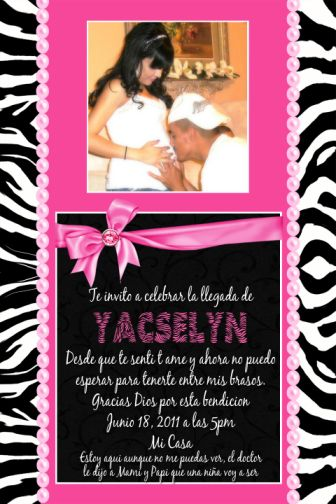 pink  zebra print couples photo baby shower invitations, Baby shower invitation