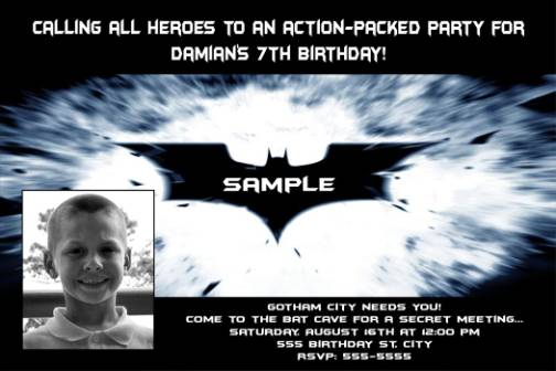 Batman Birthday Invitation Wording