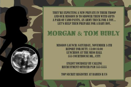 Army green camouflage baby shower invitation filmwisefo
