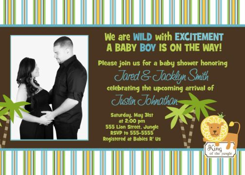 King of the Jungle Ultrasound Baby Shower Invitations