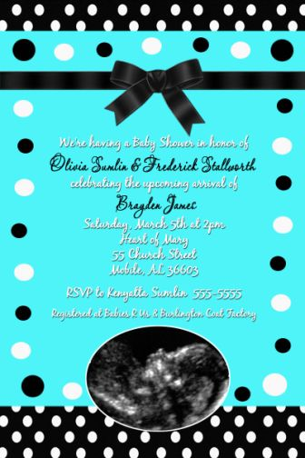 Tiffany Blue Black Boy Baby Shower Invitations
