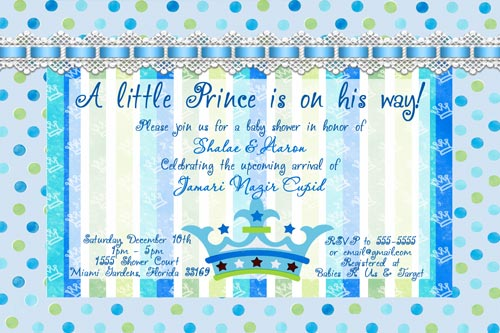 Lil prince blue green baby shower invitations filmwisefo