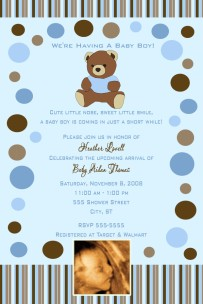 Teddy bear blue brown polka dot stripes baby shower invitation filmwisefo Choice Image