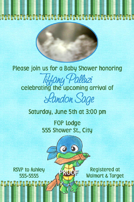 Ninja turtle baby shower invitations birthday thank you card filmwisefo