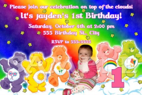 Care Bears in the Clouds Birthday Party Invitations – Care Bear Birthday Invitations