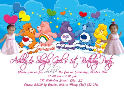 Care Bears Skating in the Clouds Birthday Invitation – Care Bear Birthday Invitations
