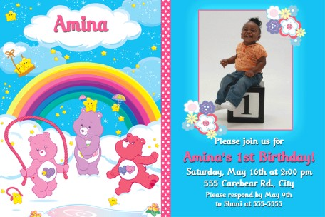 Care bears first birthday invitation filmwisefo