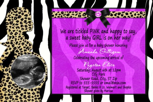 Leopard Zebra Purple Combination Baby Shower Invitation With