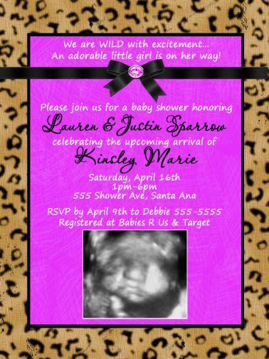 Purple & Leopard or Cheetah Baby Shower Invitations-Leopard, Cheetah, Zebra, Horse, Animal Print, Bachelorette, Sweet Sixteen, Sweet 16, Bridal Shower, baby shower