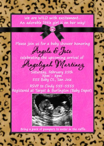 leoprd 19 hot pink with leopard cheetah print baby shower invitations
