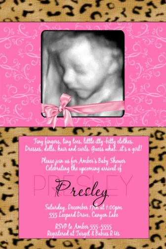 leoprd 20 pink leopard cheetah print baby shower invitations