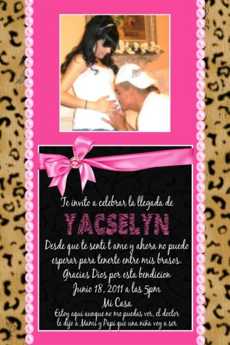 pink  leopard print couples photo baby shower invitations, Baby shower