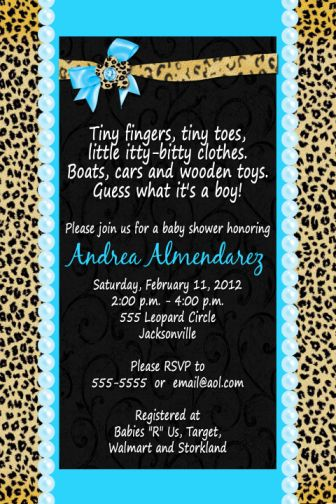 Cheetah Print Baby Shower Invitations for awesome invitation example