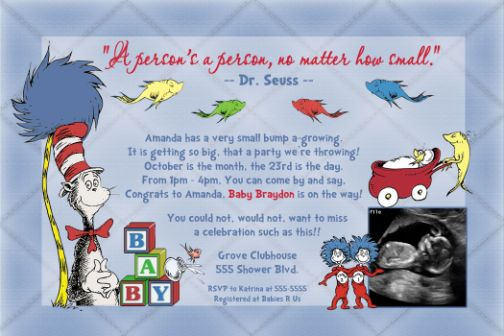 Dr seuss one fish two fish new fish baby shower invitation filmwisefo