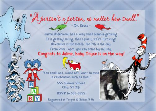 Dr seuss cat in the hat horton fish baby shower invitation with dr seuss cat in the hat horton fish baby shower invitation with ultrasound photo filmwisefo Image collections